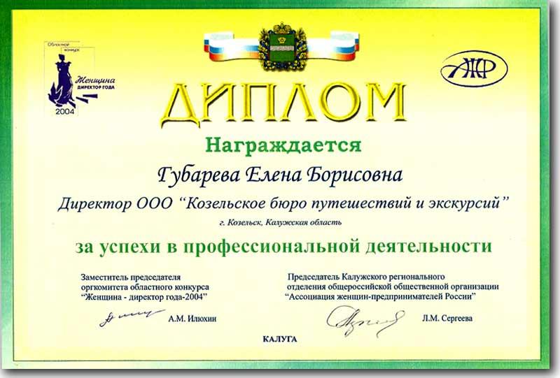 Диплом за успехи в профессиональной деятельности
